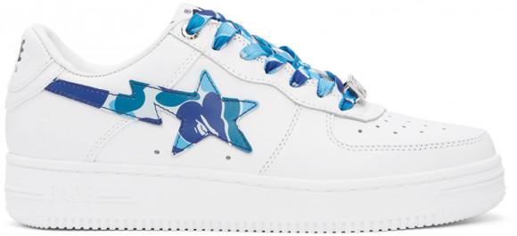BAPE White & Blue Camo Bapesta Low Sneakers - 001FWH201045XBLU