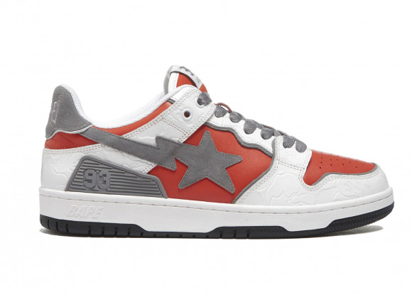 A Bathing Ape Bape SK8 Sta White Red - 001FWH801017_RED_A