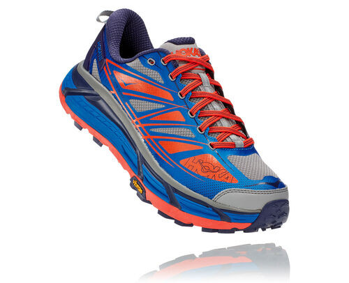 Hoka One One Mafate Speed 2 IMPERIAL BLUE MANDARIN RED,Blue, Red and Grey - 1012343-IBMR