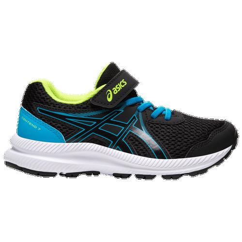 ASICS® Contend 7 - Boys' Preschool Running Shoes - Black / Digital Aqua