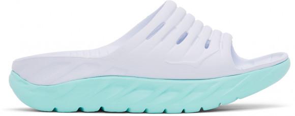 HOKA ONE ONE Ora Recovery Slide - Women's Shoes - White / Blue Tint - 1099674-WBTN