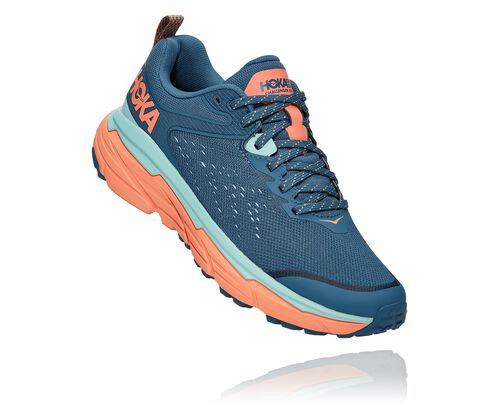 HOKA Women's Challenger Atr 6 Trail Running Shoes in Real Teal/Cantaloupe - 1106512-RTCN