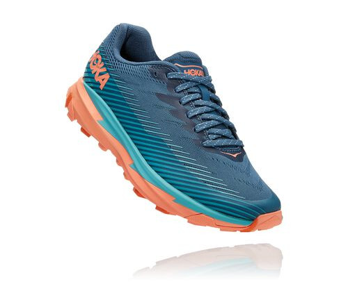 HOKA Women's Torrent 2 Shoes in Real Teal/Cantaloupe - 1110497-RTCN