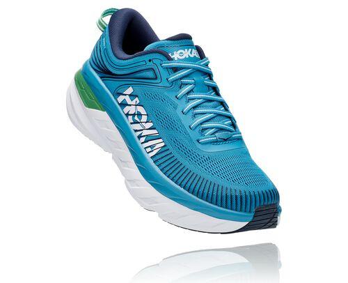 HOKA Bondi 7 Chaussures de Route pour Hommes en Blue Moon/Moonlit Ocean, taille 40 - 1110518-BMMO