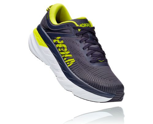 HOKA Bondi 7 Chaussures de Route pour Hommes en Odyssey Grey/Deep Well, taille 40 - 1110518-OGDW