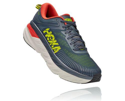 HOKA Bondi 7 Chaussures de Route pour Hommes en Turbulence/Chili, taille 40 - 1110518-TCHL