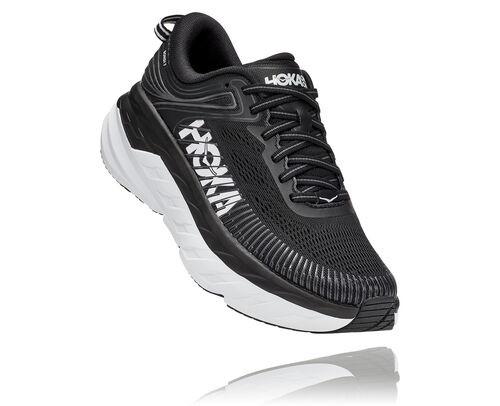 HOKA Bondi 7 Chaussures de Route pour Femmes en Black/White, taille 36 2/3 - 1110519-BWHT