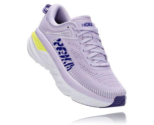 HOKA Bondi 7 Chaussures de Route pour Femmes en Purple Heather/Clematis Blue, taille 44 - 1110519-PHCB