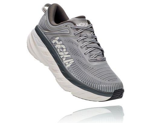 HOKA Bondi 7 Chaussures de Route pour Hommes en Wild Dove/Dark Shadow, taille 45 1/3 - 1110530-WDDS