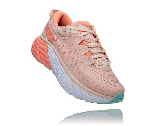 HOKA Women's Gaviota 3 Stability Running Shoes in Silver Peony/Cantaloupe - 1113521-SPCN
