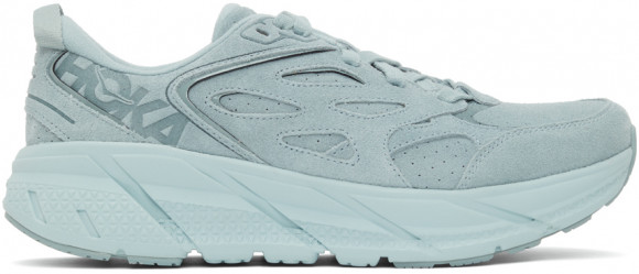 HOKA Clifton L Suede Shoes in Grey Mist/Misty Blue, Size 5 - 1122571-GMMB