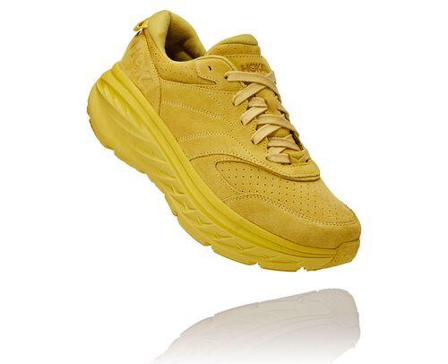 HOKA Bondi L Suede Running Shoes in Celery/Lima Bean, Size 8 - 1122572-CLMB