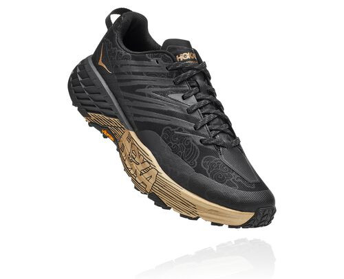HOKA Speedgoat 4 All-Terrain Running Shoes in Black/Gold, Size 5 - 1122892-BKGD