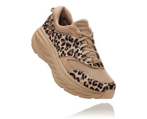 Hoka X Engineered Garments Bondi L Running Shoes in Sand Leopard Print - 1127736-SLPT