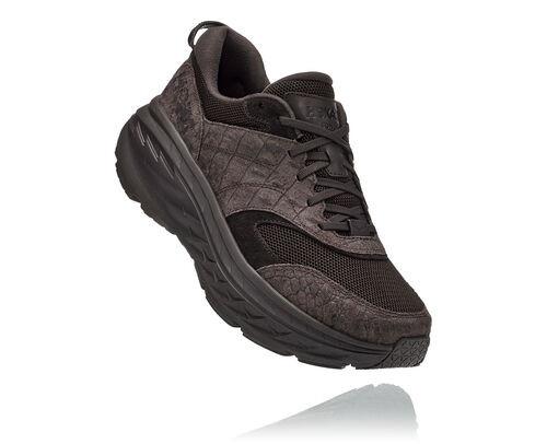Hoka X Engineered Garments Bondi L Running Shoes in Brown Croc Leather - 1127737-BCLT