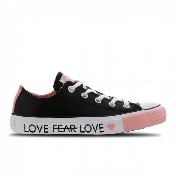 Girls Converse Converse All Star Love the Progress Ox - Girls' Grade School Shoe Black/Bleached Coral Size 07.0 - 164557C