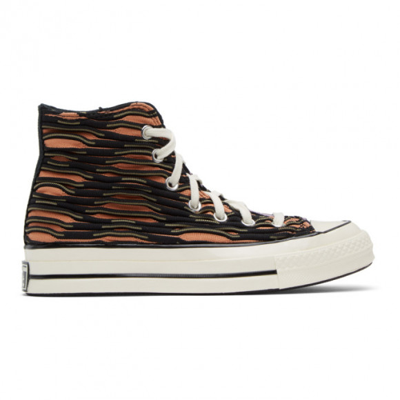 Converse Orange and Purple Wavy Knit Chuck 70 High Sneakers - 168756C