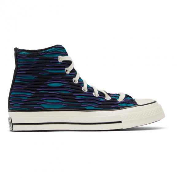 Converse Blue and Purple Wavy Knit Chuck 70 High Sneakers - 168757C