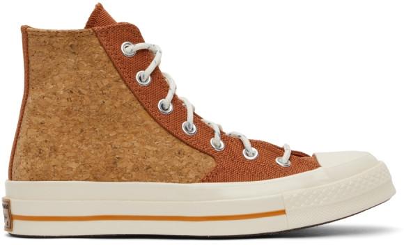Converse Baskets montantes Summer Daze Chuck 70 rouges et brun clair en liège - 170853C