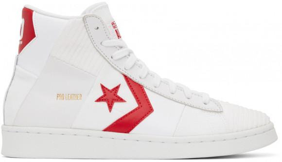 Converse Baskets Pro Parquet Court blanches et rouges en cuir - 170900C