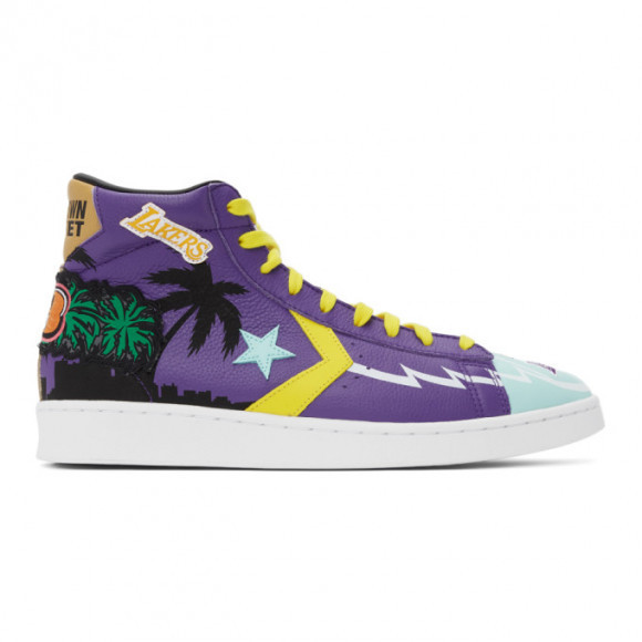 Converse Blue and Purple Chinatown Market Edition Lakers Pro Leather Hi Sneakers - 171240C