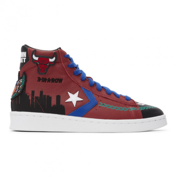 Converse Burgundy Chinatown Market Edition Bulls Pro Leather Hi Sneakers - 171241C