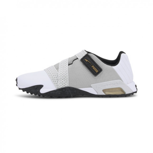 PUMA H.ST.20 Strap Leather Women's Training Shoes in White/Black/Gold, Size 7.5 - 194101-02
