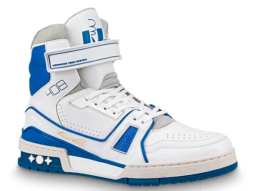Louis Vuitton LV Trainer Sneaker Boot High White Blue - 1A54JA