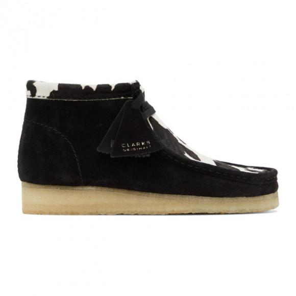 Clarks Originals Black Cow Print Wallabee Desert Boots - 26154810