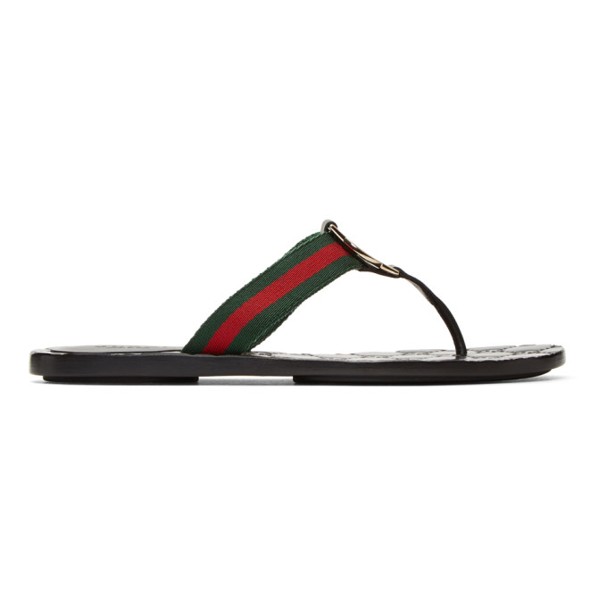 Gucci Black GG Thong Sandals - 270374 H9020