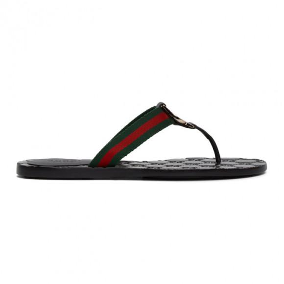 Gucci Black GG Thong Sandals - 270374-H9020