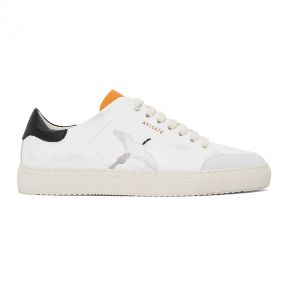 Axel Arigato White and Orange Distressed Triple Bird Clean 90 Sneakers - 28608