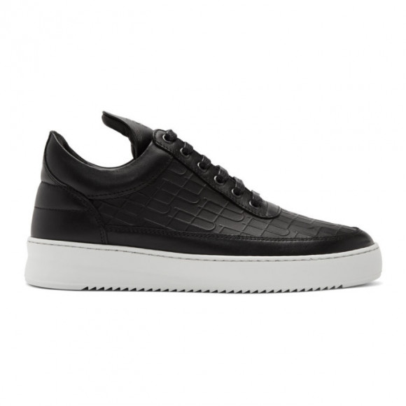 Filling Pieces Black Croc Low Top Ripple Sneakers - 3042218