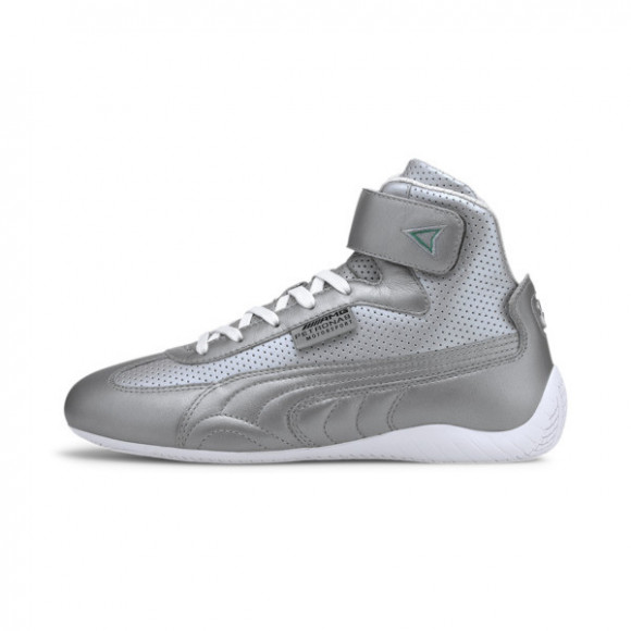 PUMA Mercedes-AMG Petronas Speedcat Mid Leather Men's Motorsport Shoes in Silver/White - 306600-02