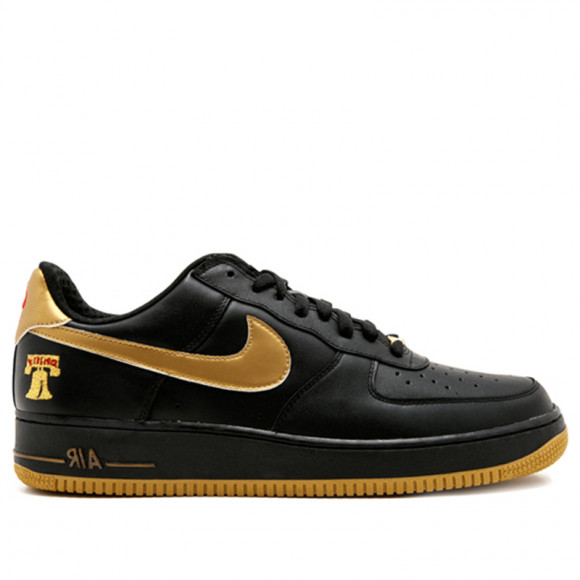 Nike Air Force 1 Premium Black/Metallic Gold-Varsity Red (Philly) Sneakers/Shoes 309096-071 - 309096-071