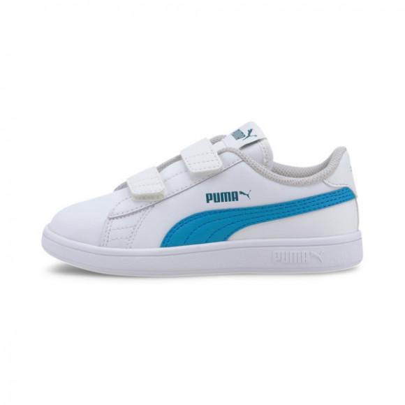 PUMA Smash v2 Leather Preschool Sneakers in White/Dresden Blue - 365173-21