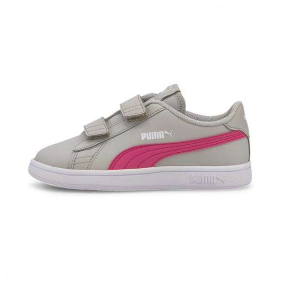 PUMA Smash v2 Leather Preschool Sneakers in Grey/Violet/Glowing Pink - 365173-23