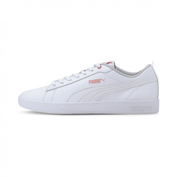 PUMA Smash v2 Leather Women's Sneakers in White/Salmon Rose/Grey - 365208-23