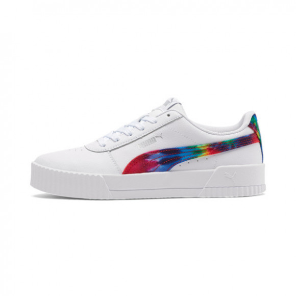 PUMA Carina Tie Dye Women's Sneakers in White/Metallic Silver - 368670-01
