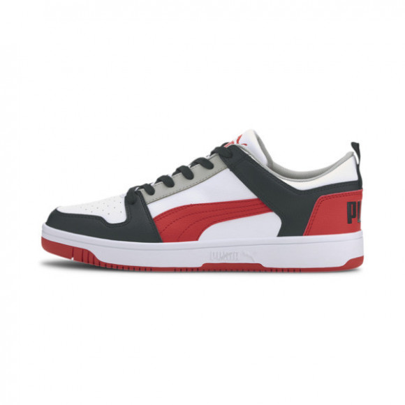 PUMA Rebound LayUp Lo Sneakers in White/H R Red/Black - 369866-09