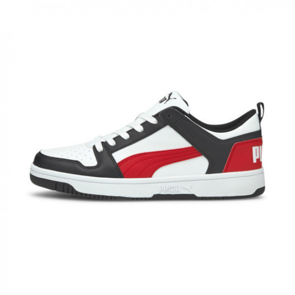 PUMA Rebound LayUp Lo Sneakers in White/Poppy Red/Black - 369866-14