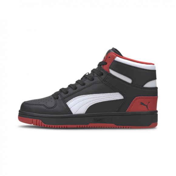 PUMA Rebound LayUp Mid Sneakers JR in Black/High Risk Red/White - 370486-08