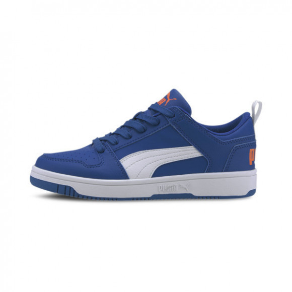 PUMA Rebound LayUp Lo Sneakers JR in Lapis Blue/White/Dragon Fire - 370490-08