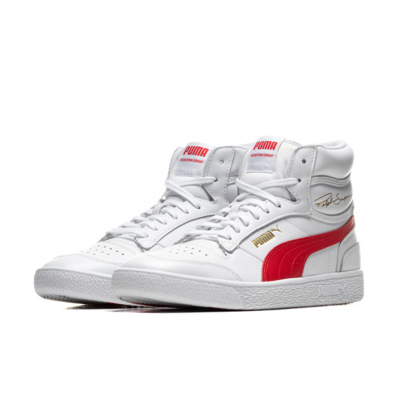 PUMA Ralph Sampson Mid Sneakers in White/High Risk Red