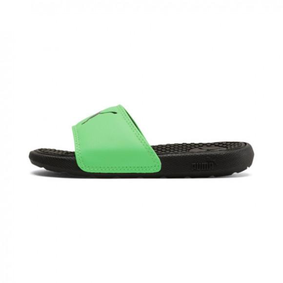 PUMA Cool Cat Sport Little Kid's Slides in Black/Summer Green - 371035-11
