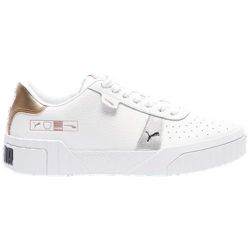 PUMA Cali Hacked - Women's Tennis Shoes - White / Silver / Gold - 37383802
