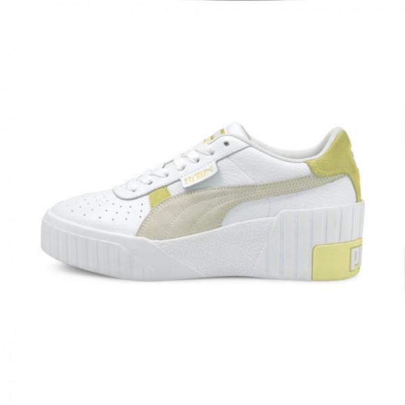 PUMA Cali Wedge Mix Women's Sneakers in White/Yellow Pear - 373906-05