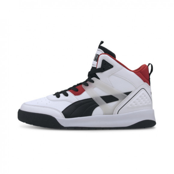 PUMA Backcourt Mid Men's Sneakers in White/Black/Red - 374139-01