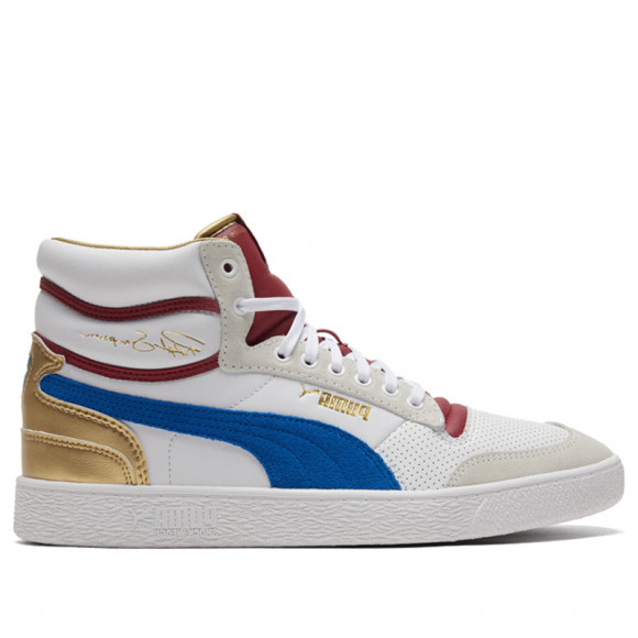 PUMA Ralph Sampson Mid Royal Men's Sneakers in Pale White/Lapis Blue/Red Dahlia - 374150-01