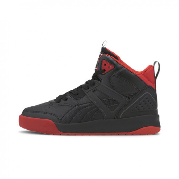 PUMA Backcourt Mid Sneakers JR in Blac/Black/Red, Size 4.5 - 374411-03